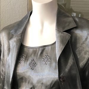 Sag Harbor Petites Grey Metallic Blouse Size 10P